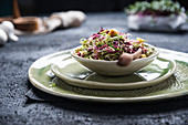 Radicchio and Brussels sprouts salad with croutons
