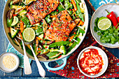 Teriyaki salmon with Asian vegetable