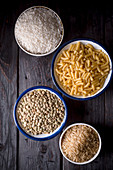 Lentils, rice and pasta (ingredients for Koshari, Egypt)