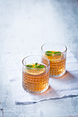 Orange iced tea with mint