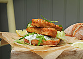 A sandwich with fish fingers