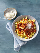 Pasta al ragù with ground beef and parmesan