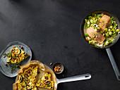 Mediterrane Zucchini-Frittata, Gedünsteter Lachs auf Lauch