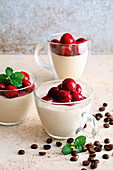 Panna cotta bianca with coffee and cherries