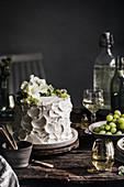 Minimalist festive cake with white frosting