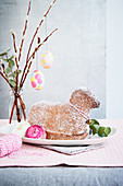 Easter lamb bread and pussy willow with decorated eggs