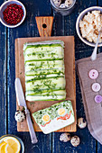 Cream cheese terrine with quail eggs, salmon and cabbage