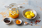 Curry marinade for colouring hard-boiled eggs