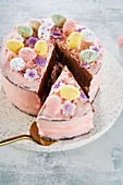 Easter cake with chocolate eggs, sliced