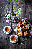 Hot Cross Buns with tea