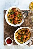 Vegan 'meatballs' on courgette noodles