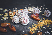 Vegan energy balls made from cashews, cranberries, oatmeal, coconut and almonds