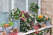 Fensterbank weihnachtlich dekoriert mit Zieräpfeln, Zapfen, Efeu und Kerzen