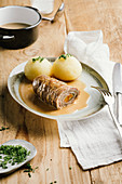 Beef roulade with gravy and potato dumplings