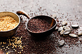 Poppy seeds, white sesame seeds and pumpkin seeds