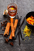 Flavouring agents – vanilla, cinnamon, anise, cloves, rum and citrus zest