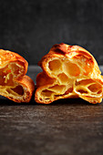 Baked choux pastry profiteroles
