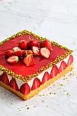 Square strawberry Fraisier cake