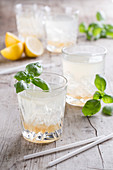 Cocktails with lemon and basil