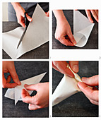 A piping bag being made of parchment paper