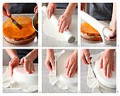 Runde Torte mit Rollfondant überziehen