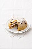 Pineapple and chestnut cream zuccotto with pandoro cake and cream