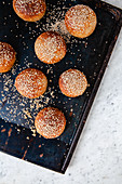 Low carb bread rolls with sesame seeds