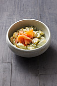 Potato salad with salmon and a green dressing