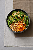 A chickpea bowl with a spicy harissa dressing