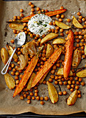 Oven-roasted Moroccan vegetables with a dip