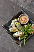 Vietnamese summer rolls with a peanut dip