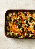 Broccoli and sweet potato bake with pumpkin seeds