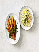 Caramelised carrots and couscous