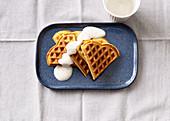 Apple waffles with cinnamon yoghurt