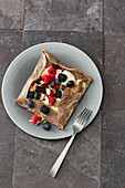 Buckwheat crepes with berry yoghurt