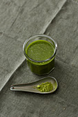 A matcha and chia smoothie