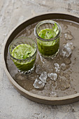 Ice cold wheatgrass drinks