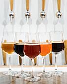 Verschiedene Biersorten in Weingläsern aufgereiht