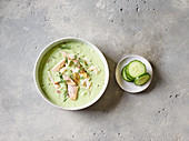Cold buttermilk and cucumber soup with trout