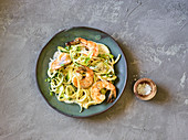 Zoodles with prawns