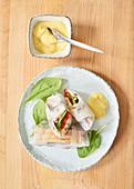 Summer rolls with turmeric mayonnaise