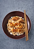 Japanese escalope with rice 'katsudon'