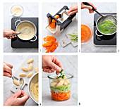Gemüsesuppe mit Grießnocken zubereiten