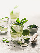 Cucumber lime and mint lemonade with ice cubes