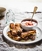 Grilled cheese sandwich sticks with salsa