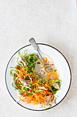 Salad with carrots, cucumber, onion and fish