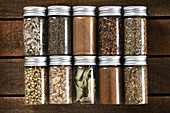 Various spice mixtures, cinnamon, lime leaves, coriander and garlic