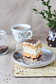 Layer cake with dulce de leche, coconut meringue and coffee frosting