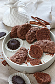 Gluten-free biscuits with cocoa and shaped chocolate pieces