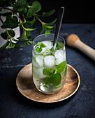 Mojito (Cocktail aus Rum, Limettensaft, Minze, Rohrzucker und Sodawasser)